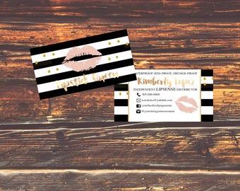 NEW! LipSense Business Cards - SeneGence International - LipSense - Distributor - Lipsense Beige and Gold, Personalized Business Card