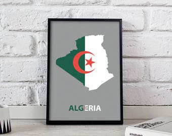 Algeria art Country Map poster wall art wall decor Gift print