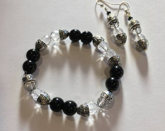 Unique 2 piece set-Black & Crystal Bracelet and Earrings