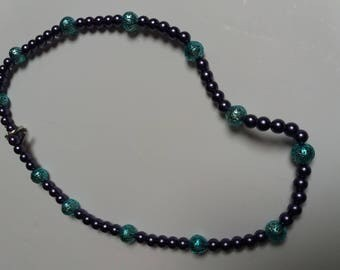 fancy turquoise and purple necklace mid-long
