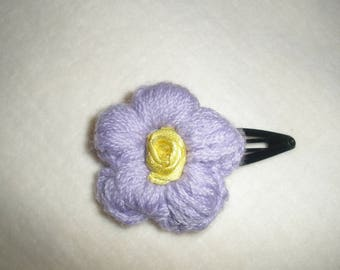 Purple crochet flower hair clip