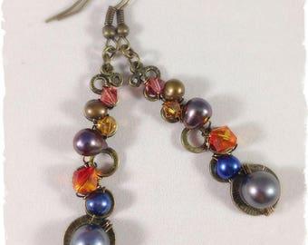 Swarovski, Freshwater Pearl & Bronze Earrings