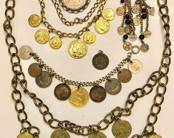 Vintage Coin Jewelry Belt Bracelet Necklace Earring Lot