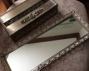 vintage mirrored vanity tray and ornate tissue box cover
