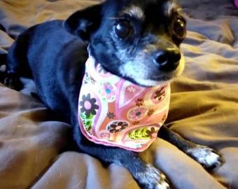 Dog Bandana Over the Collar - Pink Paisley Dog Collar Bandana - Adorable Dog Accessory