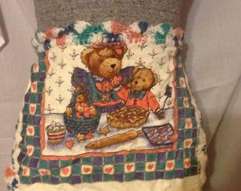 Crocheted towel apron/ girls apron/ girls smock/ holiday gift/ school smock/school apron/gift/girl gift/crocheted gift/holiday baking