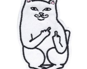 Bad Cat Motif Iron-On Applique Embroidered Velcro Patch