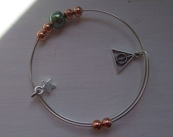 Deathly Hallows inspired charm bracelet adjustable