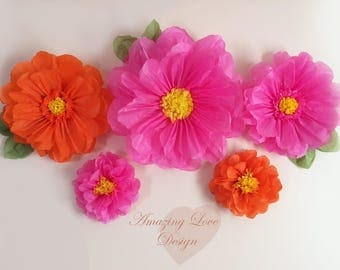 Hot pink and orange paper flowers tissue paper decorations