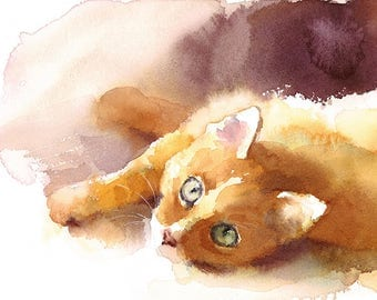 Ginger Tabby Cat Watercolour Painting Q21