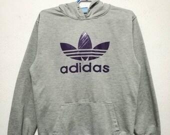 Rare Adidas 3 Stripes Big Logo Hoodie Hooded Sweatshirt Women Size