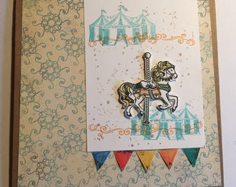 Vintage Carousel Girl's Birthday Card | Handmade