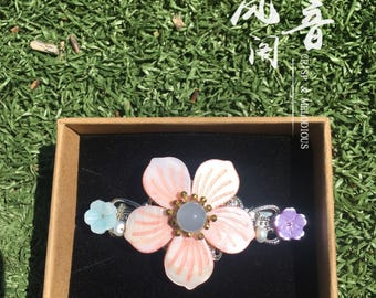 Shell flower Chinese Style Chalcedony Beads Freshwater Pearls Hairpin