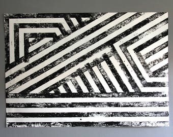 stripes linocut print black white