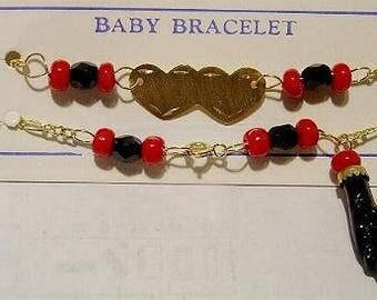 New 14kt Gold Azabache Baby Bracelet w/Hearts Free Shipping