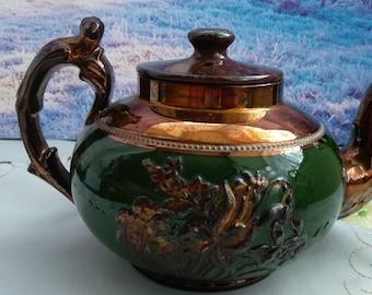 Copper milk jug and tea pot, copper kitchen, copper tea pot, old tea pot, vintage tea pot