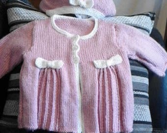 Pretty pleated baby coat and hat set