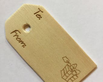 Gift Tags, Laser etched wooden gift tags, Laser etched gift tags. Includes jute for attaching to gift. Free shipping. Readyto ship.