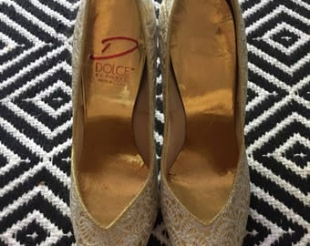 1980s Lace covered Heels by Dolce size 7