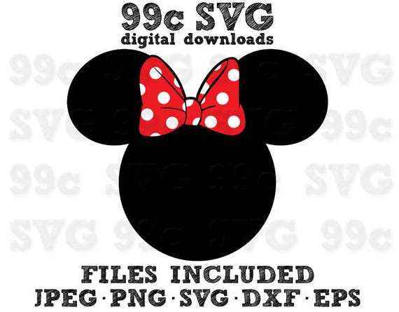 Minnie Mouse Head Svg Dxf Png Vector Cut File Cricut Design