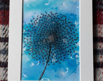 Blue Seed Head - Ink and Watercolour Original Artwork