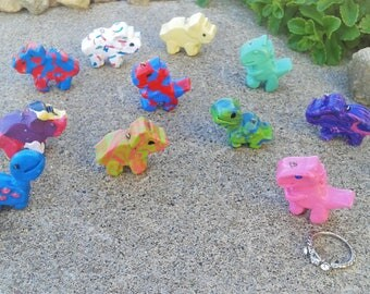 Mini Hand Crafted Polymer Clay Dinosaurs Charms: T-Rex Triceratops Brachiosaurus