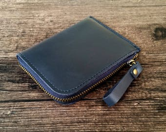 Mens zipper wallet, mens leather wallet with zip, mens leather zippered wallet, navy blue wallet, women's zipper wallet, womens zip wallet