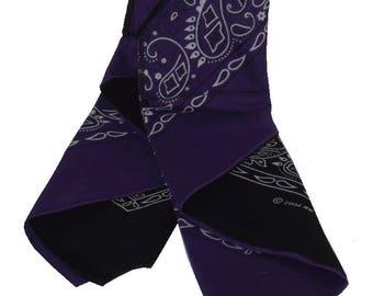 Last Laugh Bandana Wallet Purple Paisley and Black Paisley