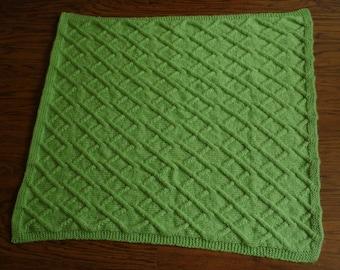 Green diamond pattern baby blanket