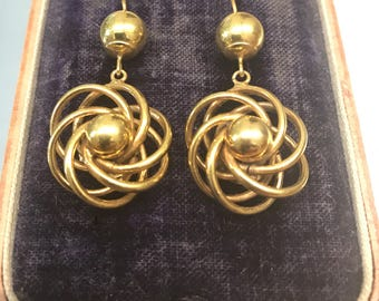 Antique Victorian gold earrings – a twist on lover's knots circa 1880
