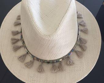Beige boho summer hat