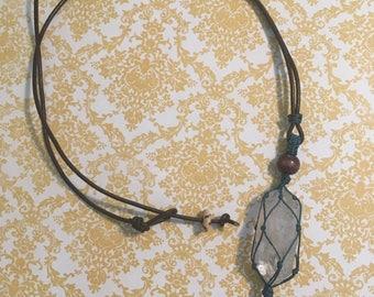 Raw Crystal Necklace - Raw Quartz Necklace - Quartz Point Necklace - Metaphysical Necklace - Long Boho Necklace - Hippie Necklace