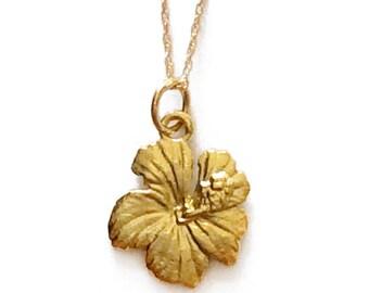 18K Hibiscus Flower Necklace