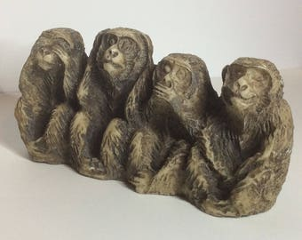 4 Wise Monkeys  statue see hear speak do No Evil - resin?