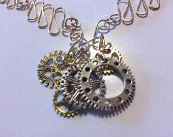 Gold and SIlver Gear Necklace
