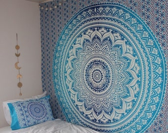 Blue Ombre Tapestry, Mandala Tapestry, Dorm Decor (FREE SHIPPING)