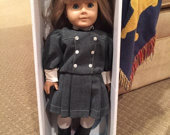 American Girl Doll Wearing Samantha School Dress