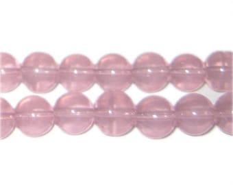 10mm Soft Plum Jade-Style Glass Bead, approx. 21 beads