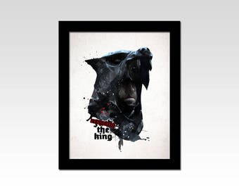 "Game of Thrones inspired Sandor Clegane ""F*** the King"" dark watercolour effect print"