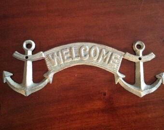 Cast Iron Anchor Welcome Plaque Nautical