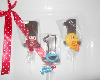 12 Elmo Cookie Monster Big Bird Sesame Street Themed 1st Birthday Party Favor Gourmet Chocolate lollipops