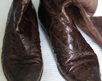 Vintage Joan & David Ostrich Leather Boots Handmade in Italy