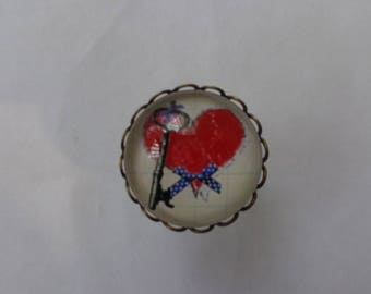 """Ring bronze cabochon glass 20mm theme Valentine love """"Key to my heart""""."""