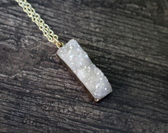 Beautiful Genuine Crystal Druzy, Gold Dipped Necklace