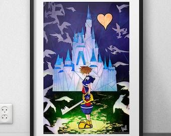 """Kingdom hearts art print FANART (12 X 18 """"/ 6 X 9"""")"""