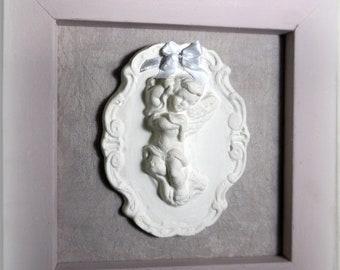 Cadre déco rose ange - Cadeau de naissance
