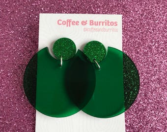 Translucent Forest Green Glitterific Dangle Earrings