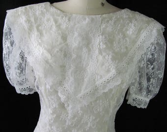 vintage gunne sax by Jessica McClintock ivory lace dress, 1980's vs early 1990's, footloose, wedding, retro, costume, throwback, bride,