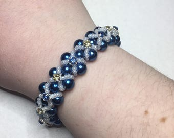 Stunning Blue Beaded Bracelet With Cross Stitched Gems