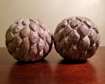 Soapstone candle holders set of 2. Vintage, very unique.Unmarked.Free shipping!